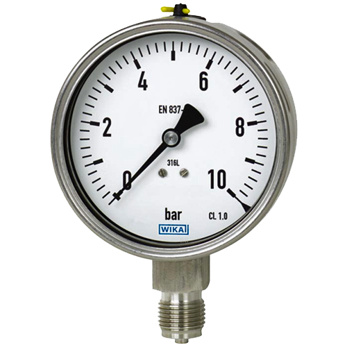 gx wika 100mm stainless steel pressure gauge thermosense direct. Black Bedroom Furniture Sets. Home Design Ideas